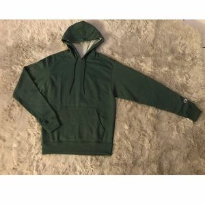 Champion Men Fleece Pullover Hoodie Dark Green S